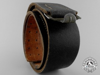 A 1942 Black Leather Belt; R.Z.f.H.22