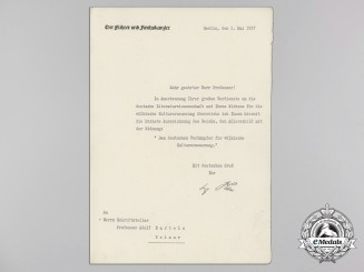 An Extremely Rare Award Document for Adlerrschild des Deutschen Reiches to Prof. Dr. Adolf Bartels