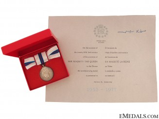 Queen Elizabeth II's Silver Jubilee Medal with Document