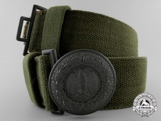 An Army Officer Tropical Web Belt and Buckle; Published Example