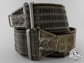 A Second War Czechoslovakian Army Officer's Brocade Belt with Buckle