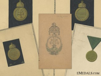 The Rare Artist's Proposal for Signum Laudis Medal by Meder-Meyer Antal