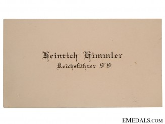 REICHSFUHRER SS HEINRICH HIMMLER Calling - Visit Card