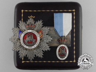 A Spanish Royal Cavalry Armory of Valencia, Medal and Breast Star Set, Cased