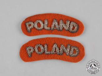 Poland, Republic. An Italian-Manufactured Polish Armed Forces in the West Army Shoulder Title Pair, c.1945