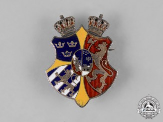 "Sweden, Kingdom. A ""Riksakten"" Union Arms of Sweden and Norway Badge"