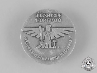 Germany, HJ. A 1936 HJ Düsseldorf Flag Consecration Badge for the Ruhr-Niedersachsen District by Paulmann & Crone
