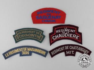 Five Second War French Canadian Regimental Shoulder Flashes