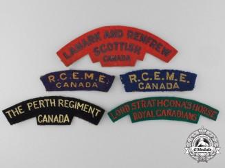 """Five Second War Canadian British-Made """"Aldershot Weave"""" Shoulder Flashes"""