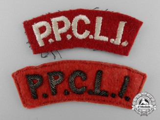 Two Second War Princess Patricia's Canadian Light Infantry Shoulder Flashes
