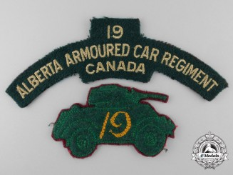 Two Second War Alberta Armoured Car Regiment Insignias