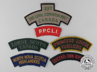 Six Early Second War Canadian Canvas Shoulder Flashes