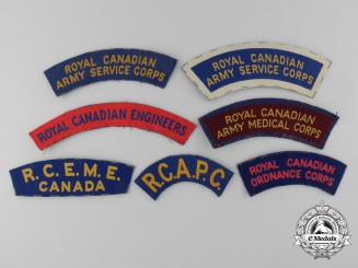Seven Early Second War Canadian Canvas Shoulder Flashes