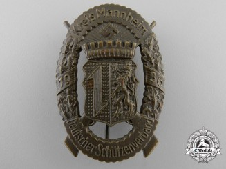 A German Shooting Association Kreis Mannheim 1936 Award Badge; Bronze Grade