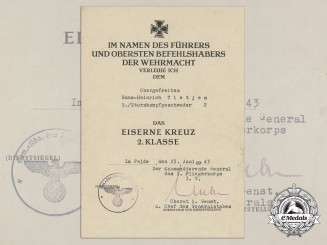 An Award Document for Iron Cross 2nd Class 1939; Sturzkampfgeschwader 2