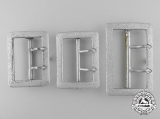 Three Dual-Prong Open Claw Army (Heer) Officers' Belt Buckles