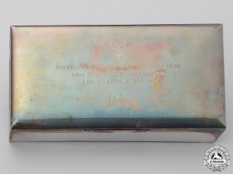A National Socialist Motor Corps Avus Race Privateer Class A 1938 Solid Silver Award Cigar Box
