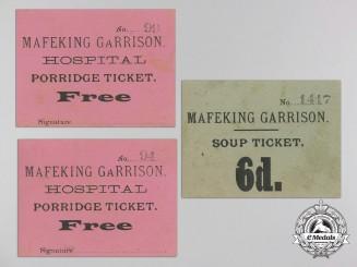 A Set of Second Boer War Mafeking Garrison Tickets 1889