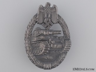 "Silver Grade Tank Assault Badge; Marked ""RS"""