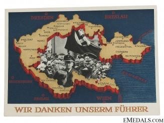 Sudetenland Annexation Appreciation Postcard