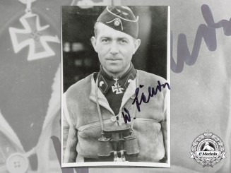 A Post War Signed Photograph of Knight's Cross Recipient; Willy Jähde