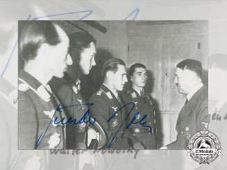 A Post War Signed Photograph of Knight's Cross Recipient; Günther Rall