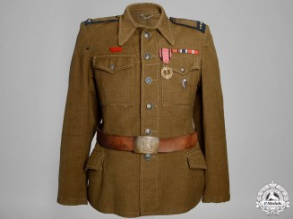 A Second War Czech Platoon Sergeant's Tunic, Side Cap with Belt & Buckle
