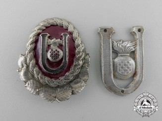 A Set of Croatian Second War Ustasha Officer Cap Badges
