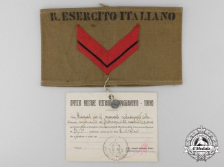 A Royal Italian Army Ministry of War Apparel Division Prototype Sample Armband