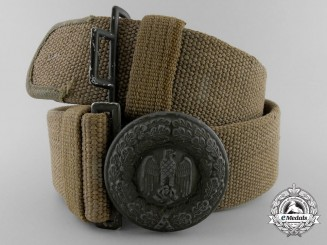 A German Army Officer's Afrika Korps Webbed Belt & Buckle; Published Example