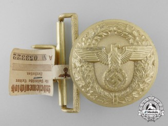A 1939 Pattern Political Leader's Belt Buckle by Wilhelm Deumer with Control Tag