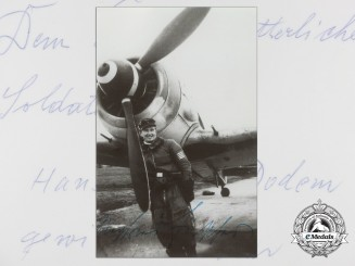 A Post War Signed Photograph of Knight's Cross Recipient; Siegfried Fischer