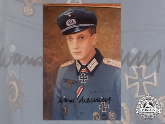A Post War Signed Photograph of Knight's Cross Recipient; Hans Heiland