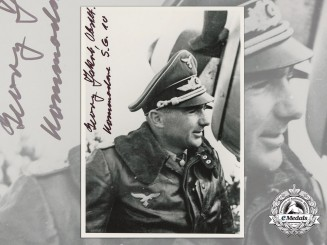 A Post War Signed Photograph of Knight's Cross Recipient; Georg Jakob