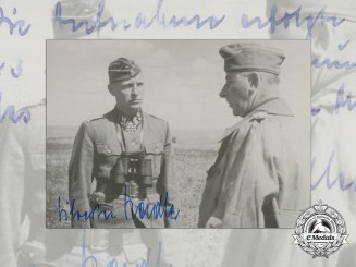 A Post War Signed Photograph of Knight's Cross Recipient; Sylvester Stadler