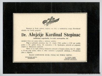 The Death Notice of Cardinal Stepinac