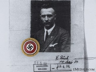 The Small Golden Party Badge of Franz Bentz