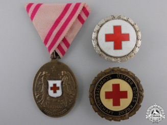 Three Austrian Red Cross Medals & Badges