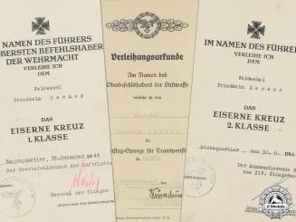 Three Award Documents to Luftwaffe Feldwebel; Transportflieger