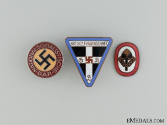 Three Enameled Pins & Badges