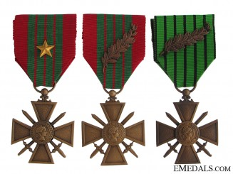 Three WWII Period Croix de Guerre