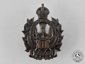 "Canada, CEF. A 111th Infantry Battalion ""South Waterloo Battalion"" Cap Badge"