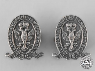 Canada, Commonwealth. A Lanark and Renfrew Scottish Regiment Collar Badge Pair