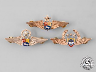 Colombia, Republic; Venezuela, Republic. A Lot of Three Air Force Pilot Badges