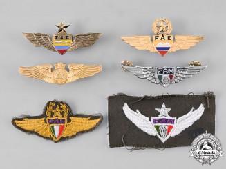 Mexico, Ecuador, El Salvador. A Lot of Six Air Force Badges