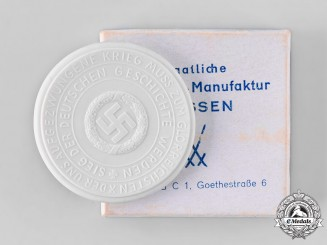 Germany, Third Reich. A 1940 Surrender of France Commemorative Porcelain Medallion, with Case