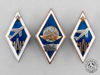Russia, Soviet Union. A Lot of Aviation School Graduation Badges