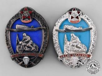Czechoslovakia, Socialist Republic. A Pair of Svazarm Merit Badges