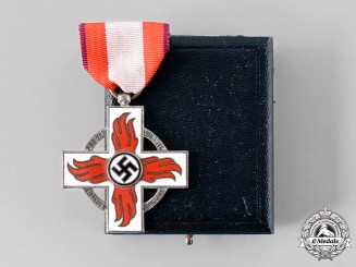 Germany, Third Reich. A Fire Brigade Honour Cross, II Class, with Case