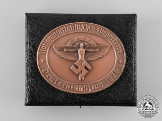 Germany, NSFK. A 1938 National Socialist Flying Corps (NSFK) Flight Award Table Medal, with Case